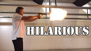 Camera guy shoots Desert Eagle .50 Cal for the first time... Hilarious