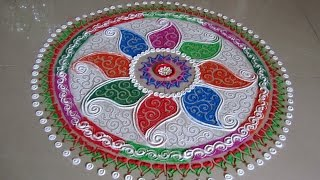 multicolored rangoli with paisley pattern   creative and unique rangoli design by poonam borkar