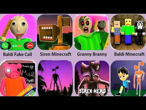 Siren Head,Baldi Piggy Roblox,Granny Branny,Siren Head Horror,Baldi Education