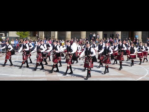 Bagpipes And Drums Music 2018 Pipe Band Competition Dundee Tayside Scotland