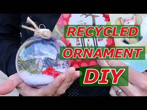 Make Snow Globe Christmas Ornaments  / Recycle Old Christmas Cards / Dollar Tree DIY