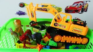 Wild Animals For Kids, Review Toys and Learning Name & sounds Construction Vehicles, Excavator toy