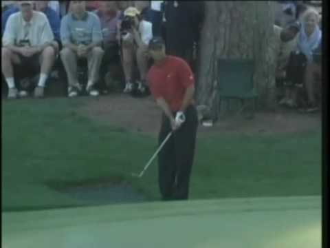 Tiger Woods impossible chip shot at 16th in 2005 Masters