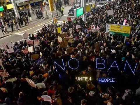 Protest at JFK airport over Trump's refugee ban