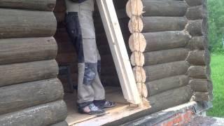 Монтаж металлической двери в деревянный дом(Установка железной двери в бревенчатом доме., 2015-06-04T17:55:44.000Z)