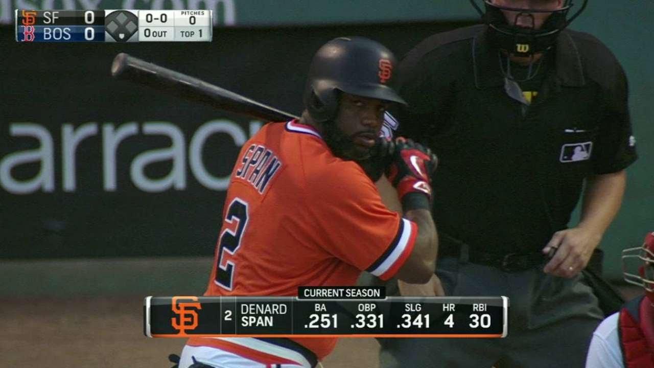 official photos 9fcff e9593 SF@BOS: Giants booth admires throwback uniforms