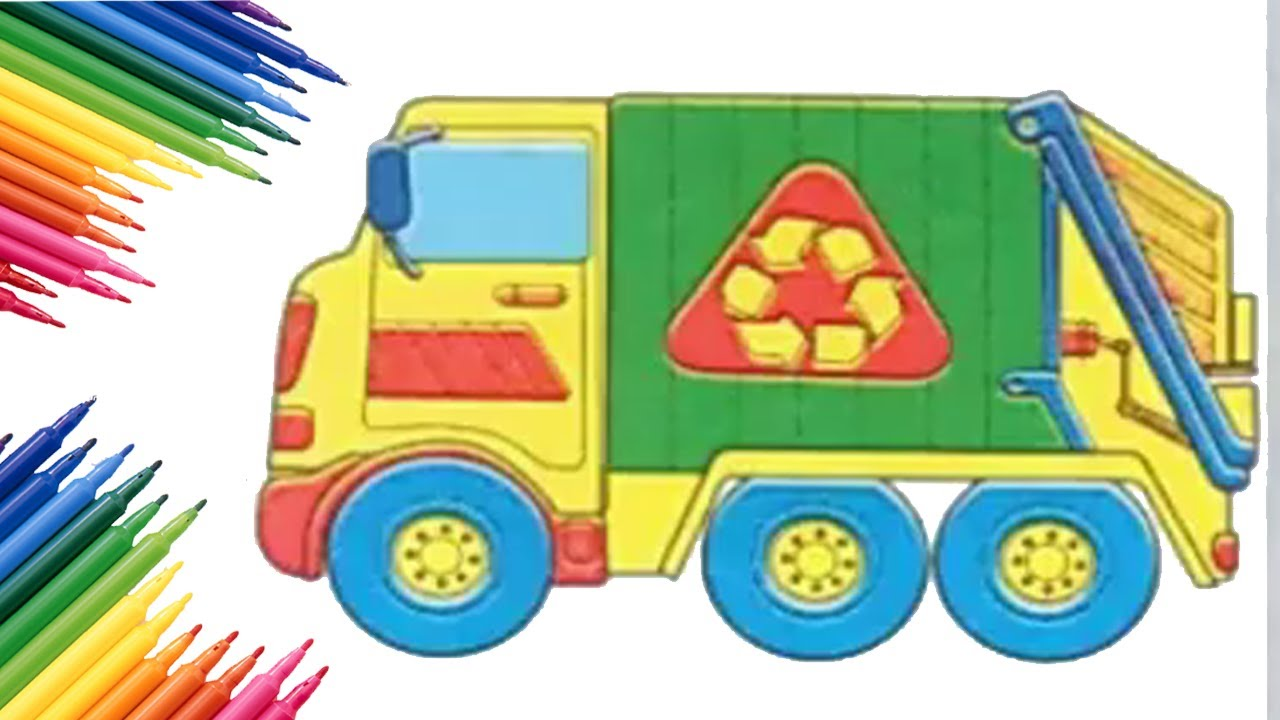 Garbage Truck Coloring Book Page | 720x1280