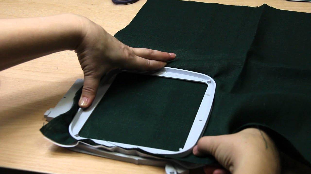 Заправка ткани в пяльцы в швейно-вышивальной машине PFAFF или Husqvarna