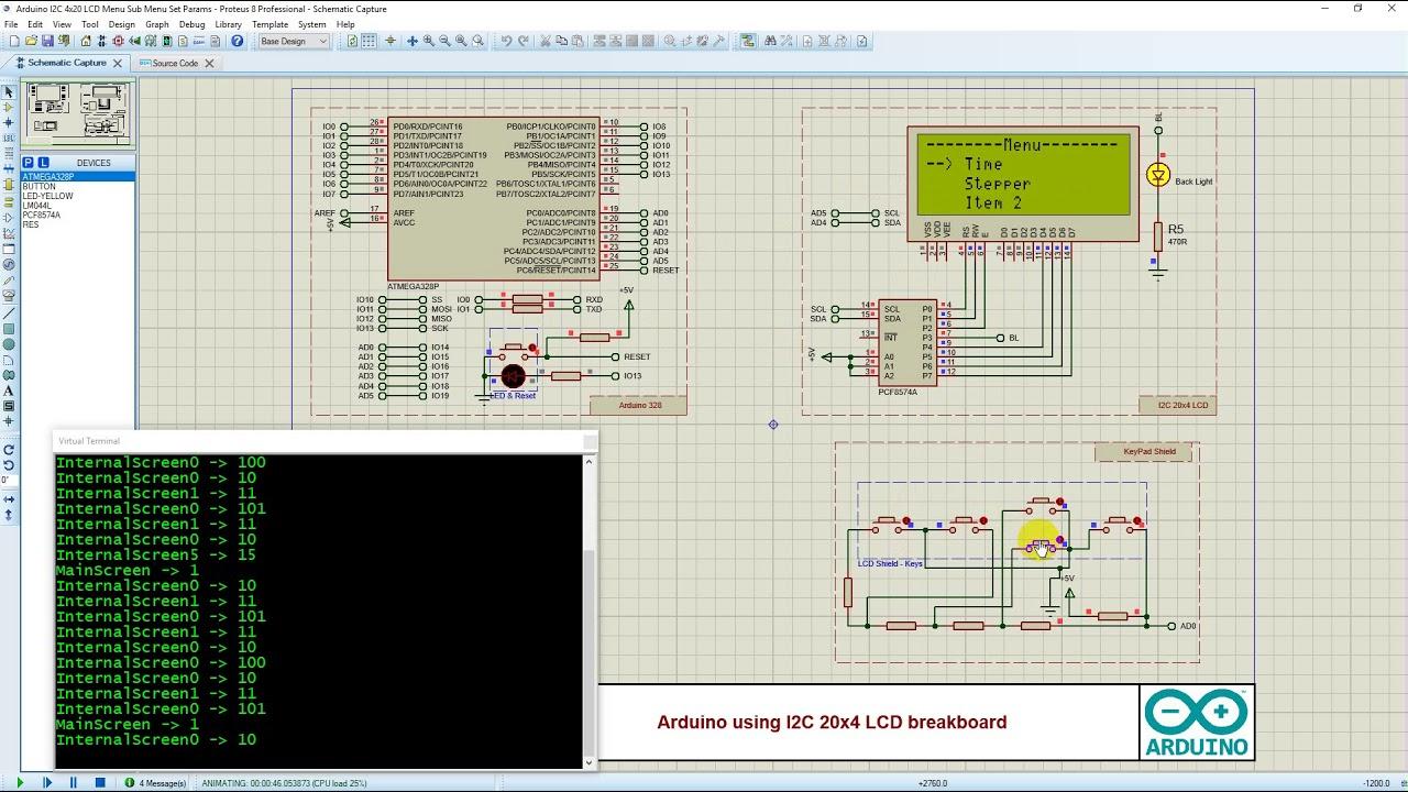 Proteus Arduino i2c 20x4 LCD Display Menu Tutorial, Scrolling Menu, Set  Parameters