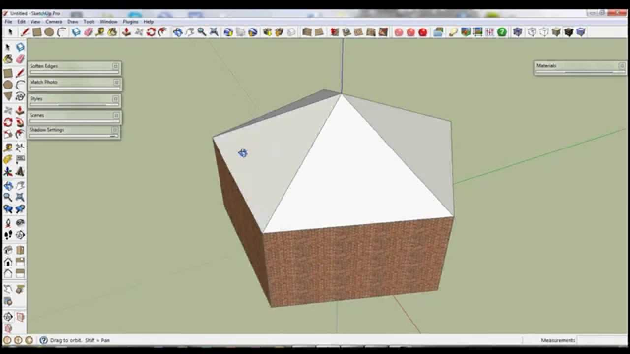 Google Sketchup Five Point Roof Drawing Polygons Youtube