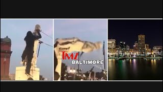 Group Of Protesters Pulls Down Statue Of Christopher Columbus And Throws It Into Baltimore Harbor