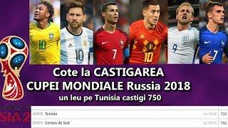 Favoritele LA CASTIGAREA World Cup Russia 2018 COTELE Pariu pe Tunisia ne imbogateste