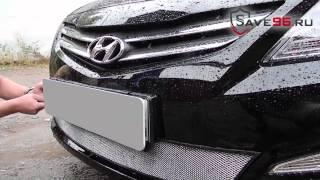 Защитная сетка в бампер на Hyundai Solaris Хендай Солярис 2014 2017 г.в. рестайлинг смотреть
