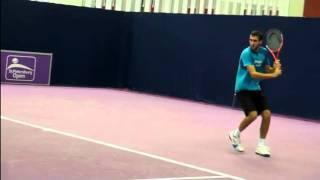 Теннис  Удар слева двумя руками
