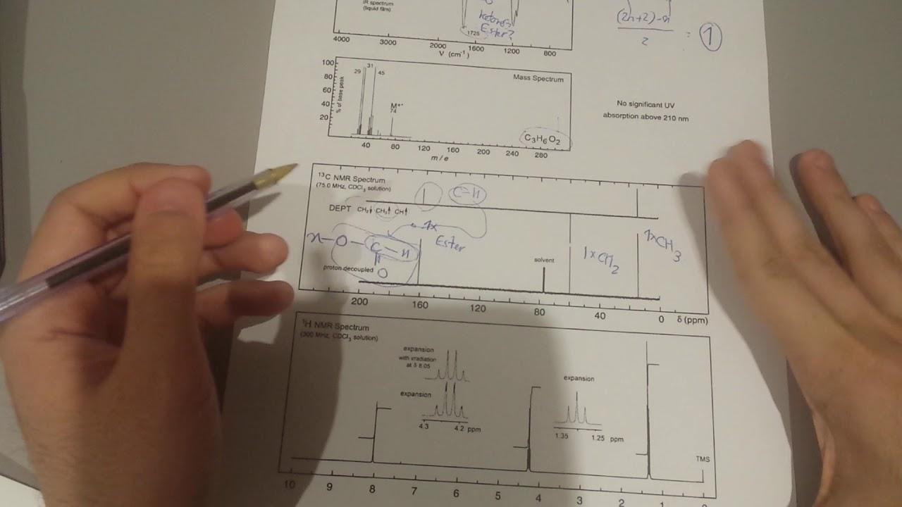 Determine Organic Structure from IR/NMR/C NMR/ Mass Spectroscopy Part 4