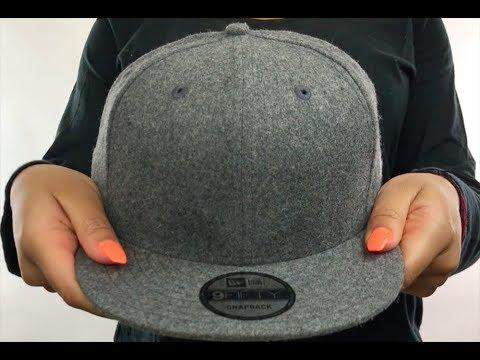12ecdd50b33 New Era  BLANK SNAPBACK  Melton Grey Adjustable Hat - YouTube