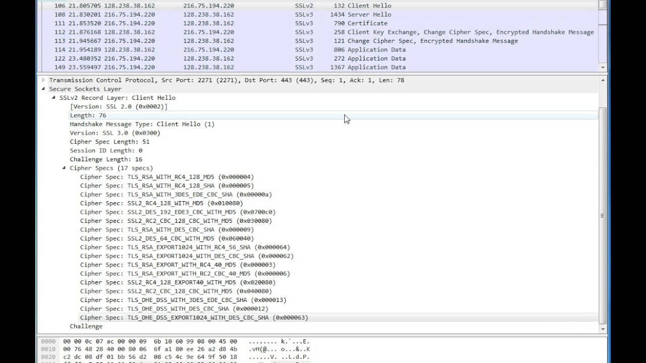 Wireshark Capture Showing Ssl Handshake Youtube