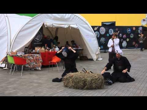 Гастрономический фестиваль радуга парк Екатеринбург, выступление борцов Кэндо