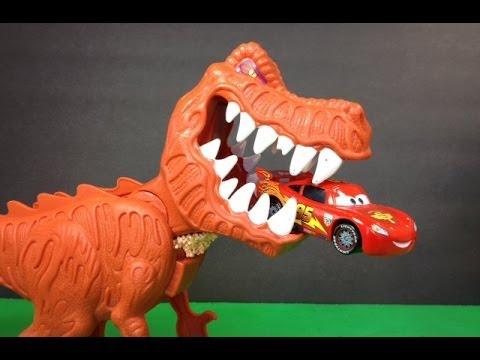 lightning mcqueen of disney pixar cars with t rex dinosaur. Black Bedroom Furniture Sets. Home Design Ideas