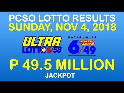 Lotto Result November 4 2018 PCSO (Ultra Lotto 6/58, Super Lotto 6/49 Results)