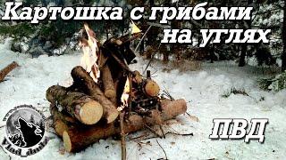 ПВД в зимний лес | Картошка с грибами на углях
