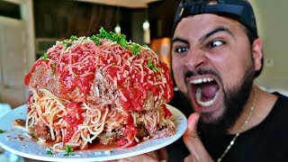 DIY GIANT SPAGHETTI STUFFED MEATBALL!!