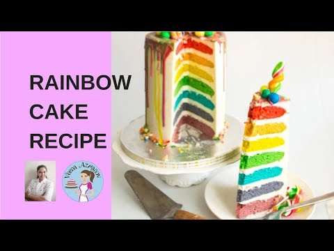 Easy Rainbow Cake Recipe From Scratch - Seven Layer Rainbow Cake