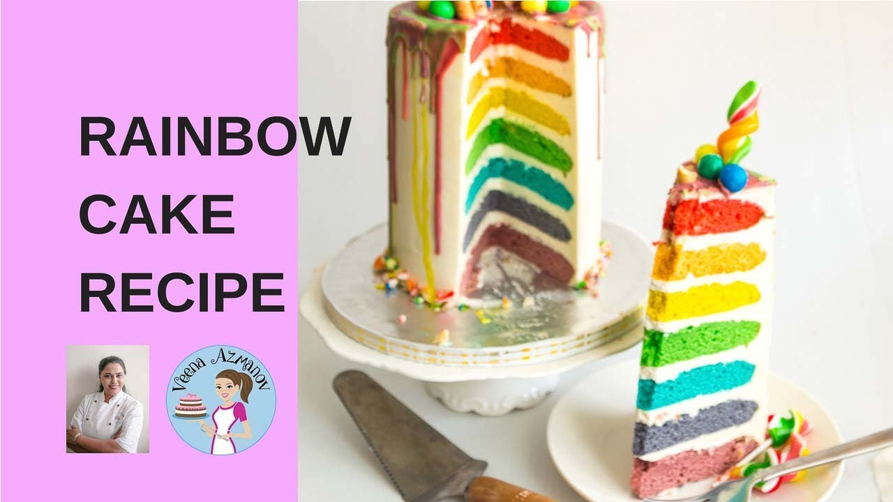 Easy Rainbow Cake Recipe From Scratch Seven Layer Rainbow Cake
