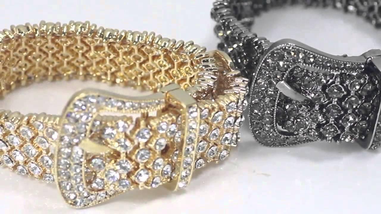 Rhinestone Pave Belt Buckle Bracelet Adjule Stretch
