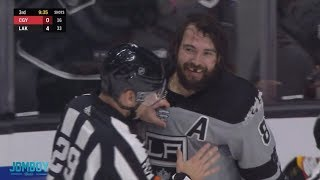 Drew Doughty and Matthew Tkachuk start a dog pile, a breakdown