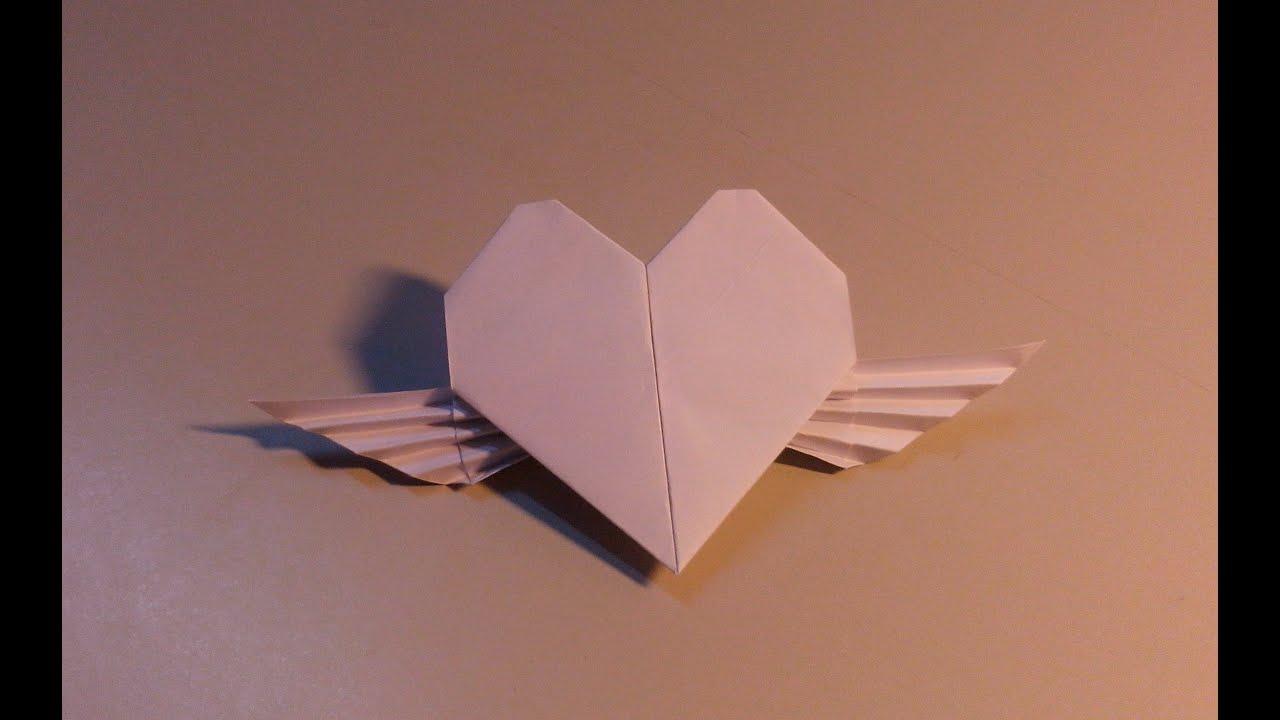 Gấp giấy Origami: Gap trai tim - Cách Gấp trái tim có cánh giấy