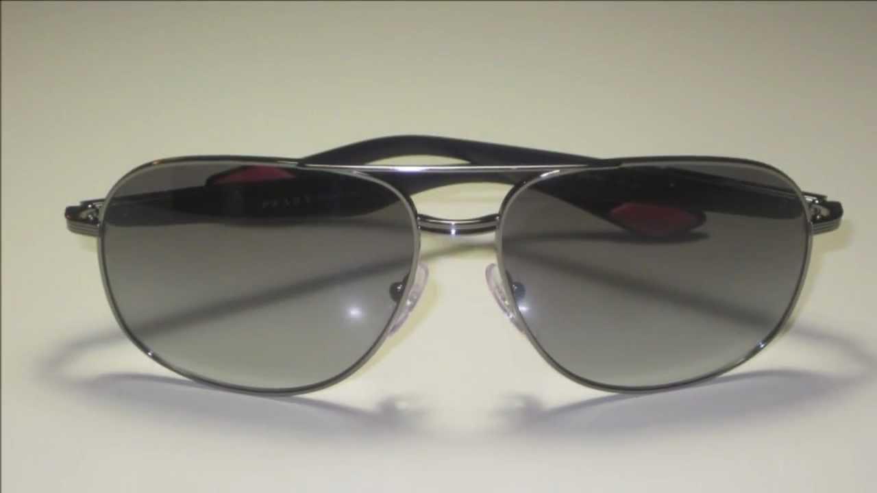 2176a907516 Prada SPS 50M 5AV-3M1 Gunmetal Sunglasses - YouTube
