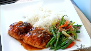 Classic barbecue chicken with coconut rice and green bean amazing recipe