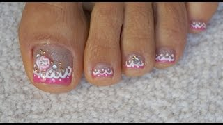Toes Art Design Girly Tutorial for Beginners Pink French Pedicure Rose Rhinestones and Micro Beads