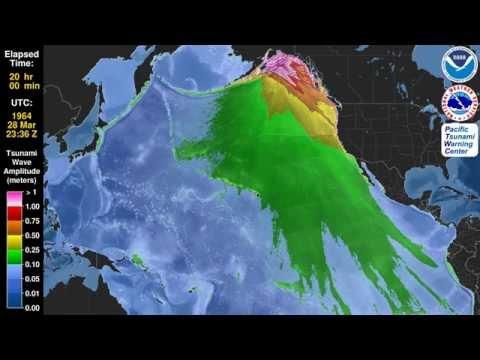 Tsunami de 1964: criado pelo maior sismo alguma vez registado (magnitude 9,2 no Alaska - EUA)