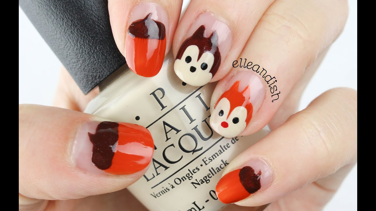 EASY Disney Chip N Dale Nails for Fall! - YouTube