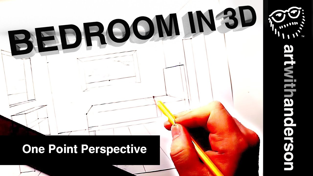 How to draw a 3d bedroom in one point perspective step by for 3d bedroom drawing