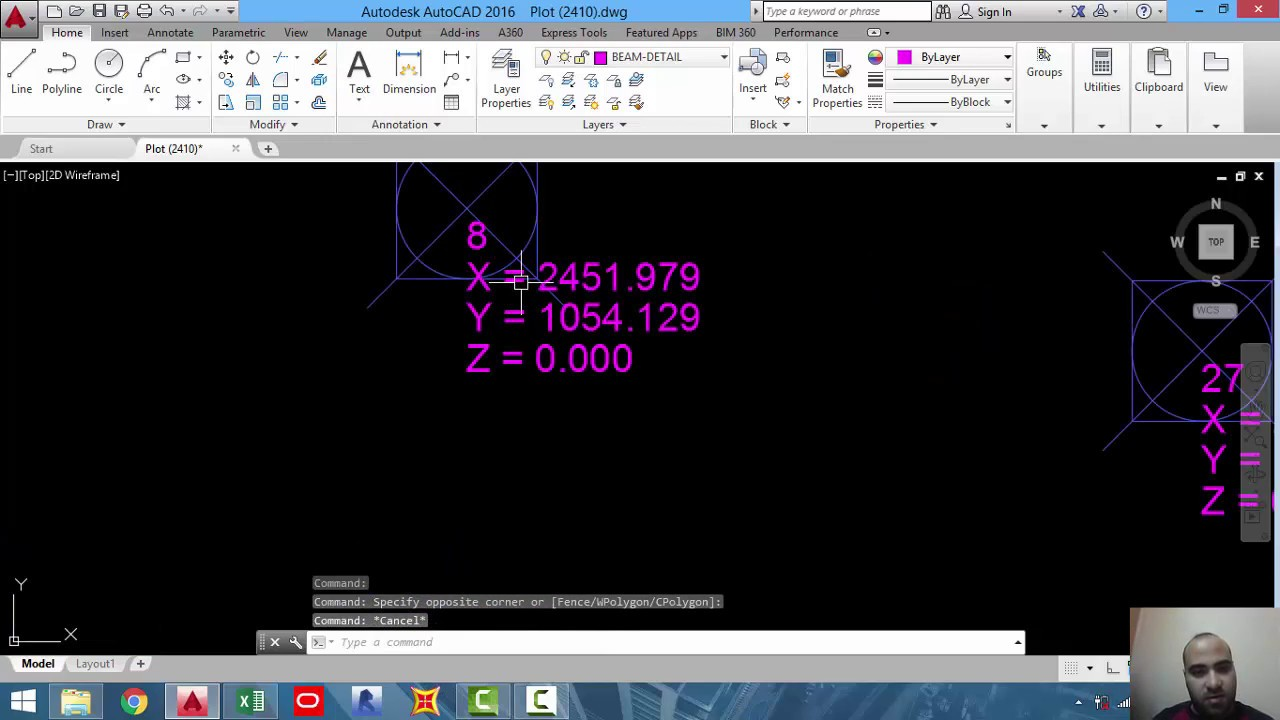 03- Exporting points coordinates from autocad to excel and type no  and  coordinates in autocad