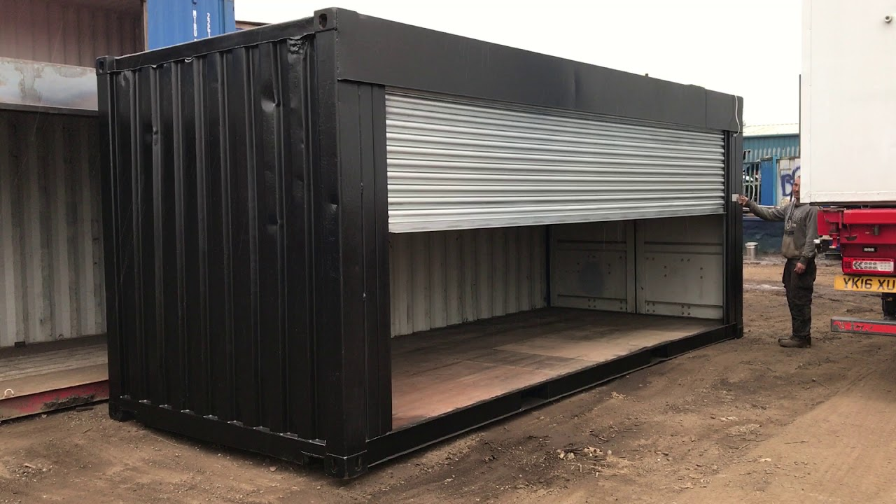 20ft Shipping Container Roller Shutter Conversion Youtube