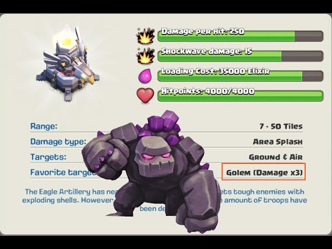 Clash of Clans NEW Update: Eagle Artillery 3x Damage to Golem