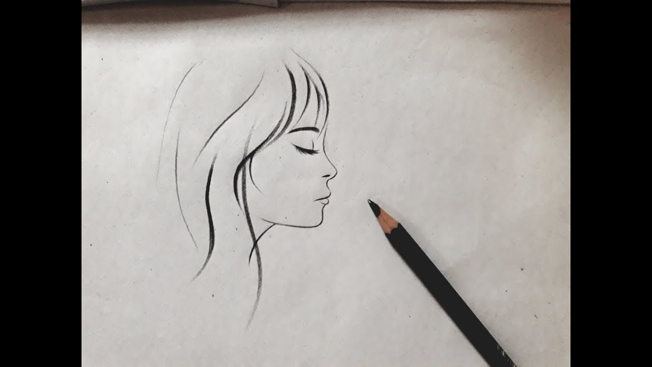 How To Draw A Girl Side Face View Sketch Step By Step For Beginners In 2 Min Girl Drawing Easy
