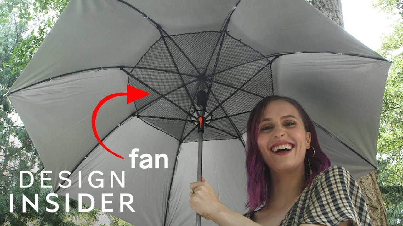 bf27b6e87f27e Umbrella Has Built-In Fan To Keep You Cool - YouTube