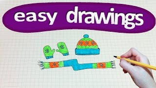 Easy drawings #162  How to draw a hat, mittens and scarf /Winter ❄