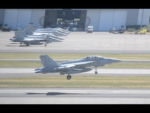 """2 US Navy Boeing EA-18G Growlers VAQ-140 """"Patriots"""" Takeoff From PDX"""