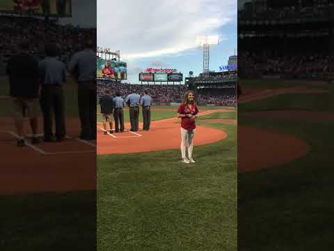 Avery Madilyn Veteto sings The Star-Spangled Banner at a Red Sox/Yankees game atFenway Park