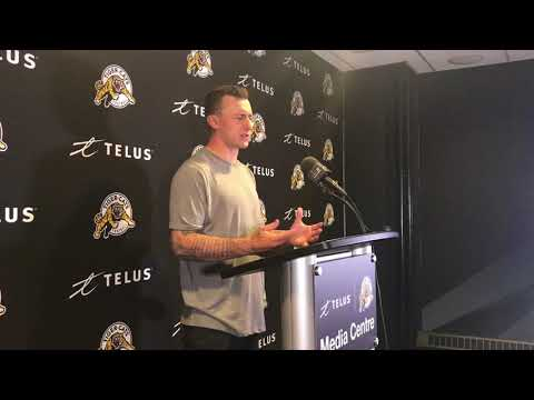 Johnny Manziel speaks to the media after first CFL game