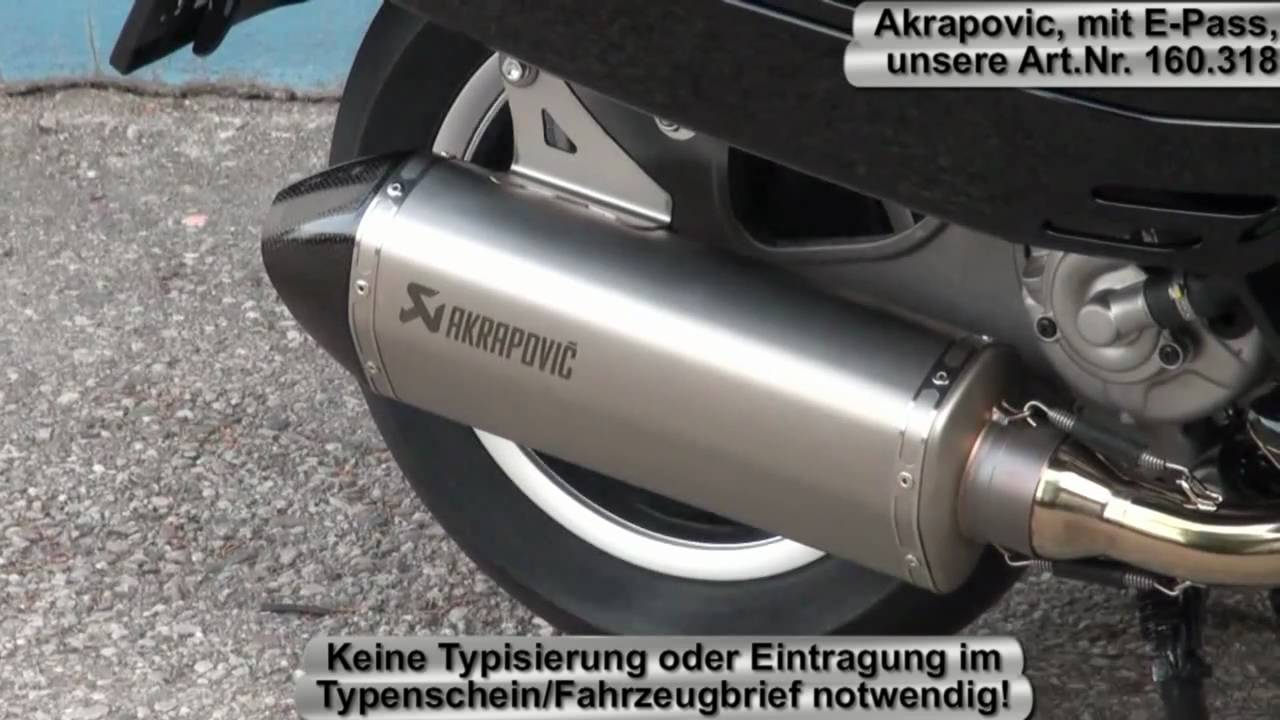 rennauspuff akrapovic auf vespa gts 300 youtube. Black Bedroom Furniture Sets. Home Design Ideas