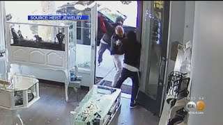 Caught On Tape: Jewelry Store Owner Fights Off Sledgehammer-Wielding Robbery Suspects