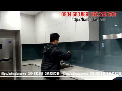 Kính ốp bếp - KÍNH ỐP BẾP MÀU GHI SÁNG THI CÔNG TẠI Phòng 12A03 S2 136 Hồ Tùng Mậu