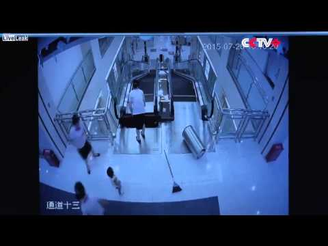 China woman escalator death before and after (uncut)